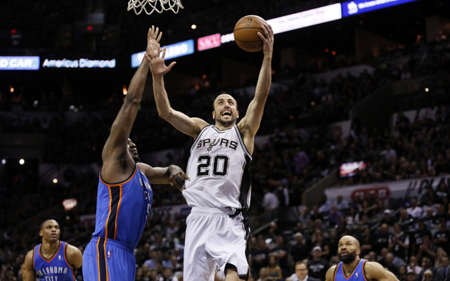 Manu Ginobili was brilliant in Game 1 for the Spurs. (USATSI)