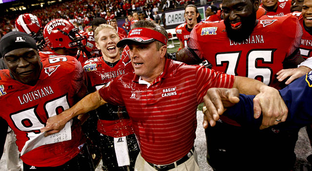Mark Hudspeth and Louisiana-Lafayette celebrate after winning last year's New Orleans Bowl. (USATSI)