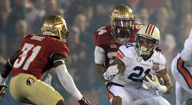 Auburn's Tre Mason looks for running room against Florida State. (USATSI)