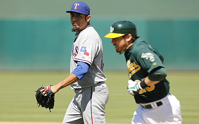 Matt Garza is angry at Eric Sogard for bunting home a run in a close game.