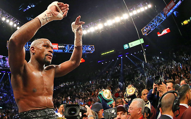 Mayweather: 'It was blood, sweat and tears in there tonight, what can I say.' (Getty)