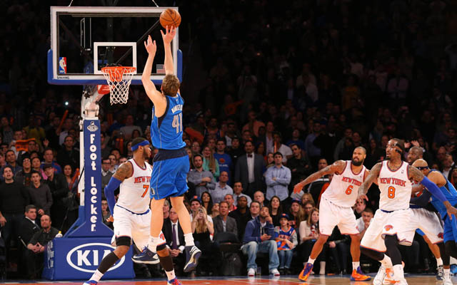 Dirk Nowitzki will try and reel in Melo Wednesday. (USATSI)