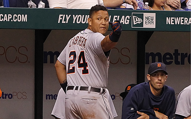 Miguel Cabrera reacts to Rodney's high-and-tight pitch Saturday.