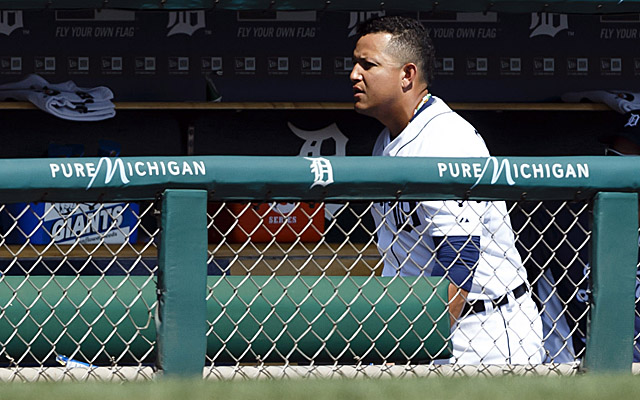 That's Miguel Cabrera, heading for the clubhouse early Thursday. It happened again Friday.
