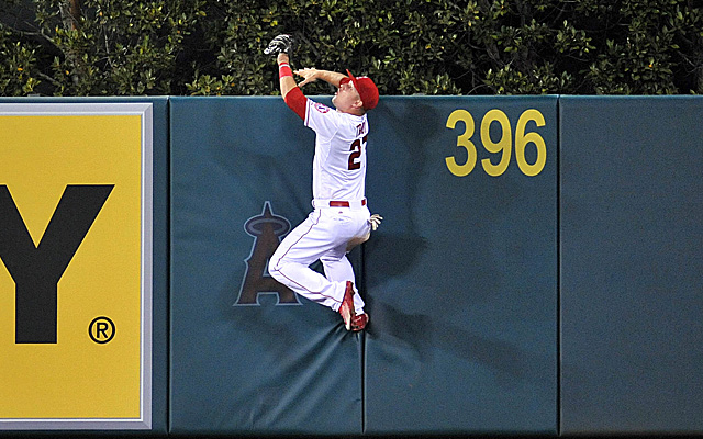 Mike Trout enjoys scaling walls and talking about snow.