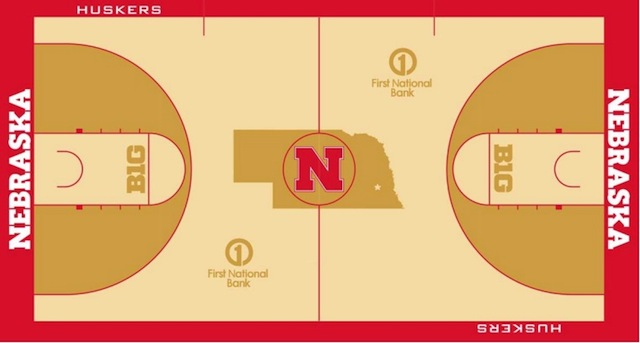 Nebraska will get a new court design when it moves into its arena. (Nebraska Athletics)