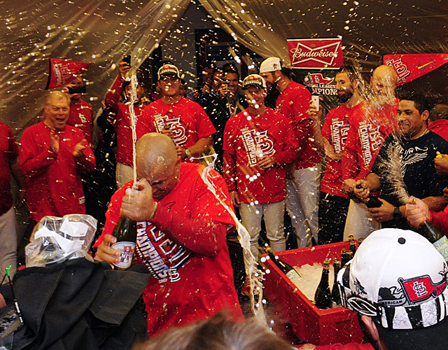 The Cardinals celebrate their 2013 National League pennant.