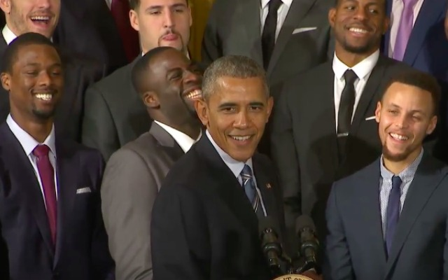 The President and the Warriors laugh it up.