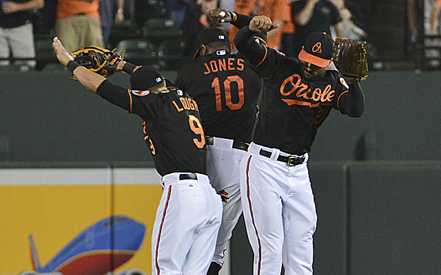 The Orioles outfield got to celebrate like this a few times this week.