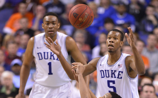 Jabari Parker and Rodney Hood could only watch as their tournament dreams faded..  (USATSI)