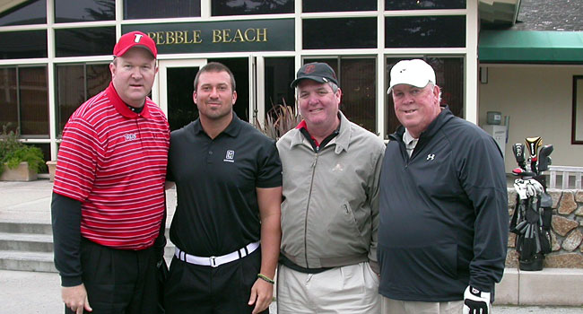 Playing golf with Maryland boosters Edward Woods, Justin Duffie and Patrick Caulfield. (Provided)