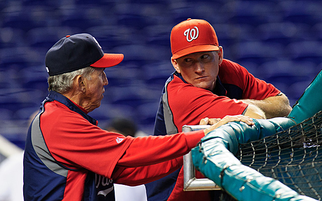 Rick Eckstein, right, has been relieved of his duties by the Nationals.