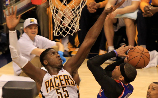 Roy Hibbert has been dominant defensively.  (USATSI)