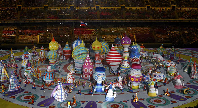 Performers participate in the opening ceremony. (Reuters)