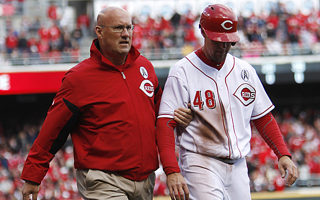 This was the scene last time Ryan Ludwick was in uniform for the Reds.