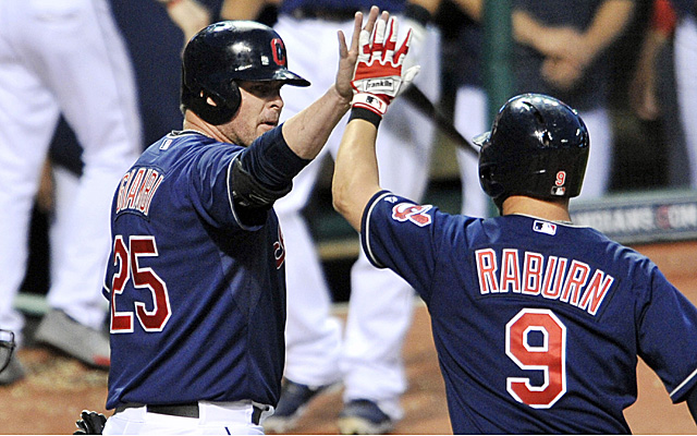 Giambi congratulates a red-hot Raburn