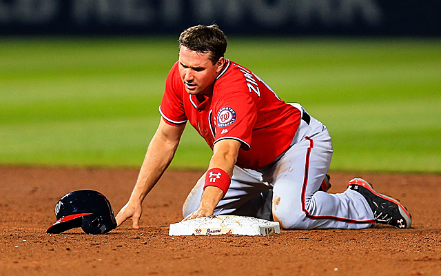 Ryan Zimmerman reacts to his apparent thumb injury.