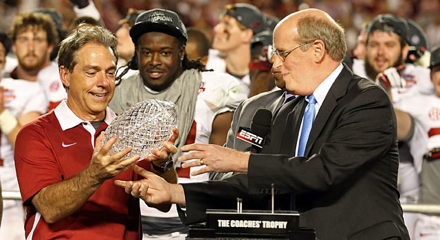 Nick Saban after winning the 2013 BCS title with Alabama. (USATSI)