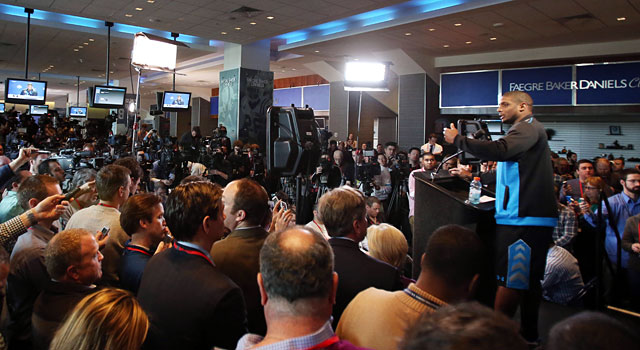 No surprise ... Missouri's Michael Sam had tons of media attention. (USATSI)