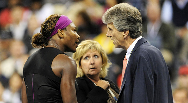 Serena Williams meets with officials after her tirade in 2009. (Getty)