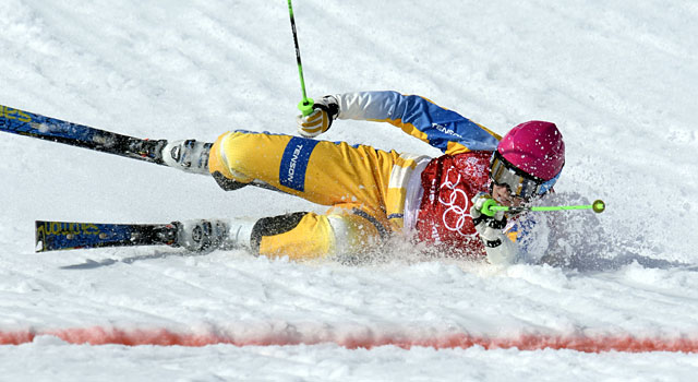 Sweden's Victor Oehling Norber crashes during the quarterfinals of the men's ski cross. (USATSI)