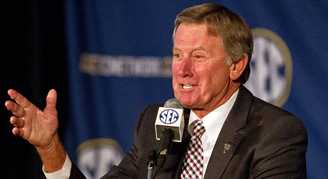 Steve Spurrier was in his usual form at SEC Media Days. (USATSI)