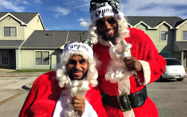 Patty Mills and Rasual Mills get in the holiday spirit.
