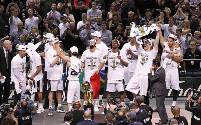 The Spurs' celebration was about one thing: joy.  (USATSI)