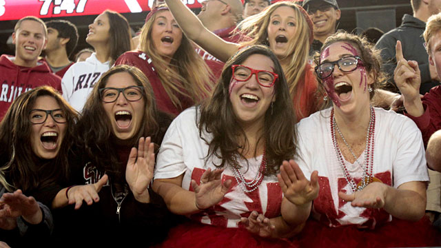 Stanford fans have embraced the look of 'Nerd Nation'. (USATSI)