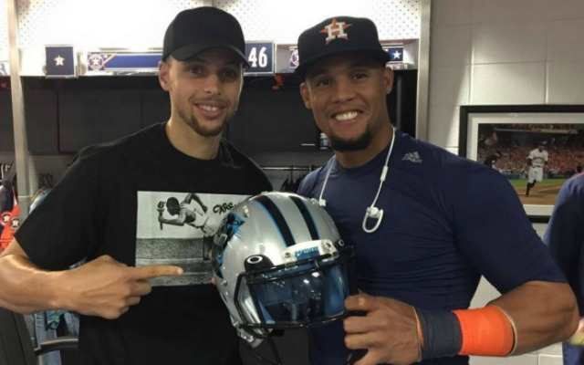 LOOK: Warriors star Steph Curry hangs out with the Houston Astros