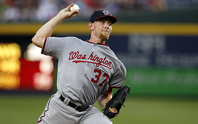Stephen Strasburg was lit up by the Braves Friday night.