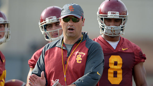 Steve Sarkisian winning 10 games in first year at USC? Bruce Feldman thinks so. (USATSI)