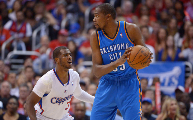 Chris Paul guarding Kevin Durant has given the Thunder problems. (USATSI)