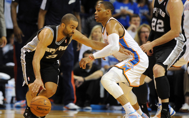 Russell Westbrook will try and contain Tony Parker again in Game 6..  (USATSI)