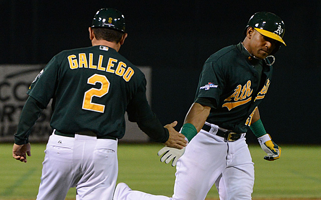 Yoenis Cespedes and the A's look to even things up Saturday.