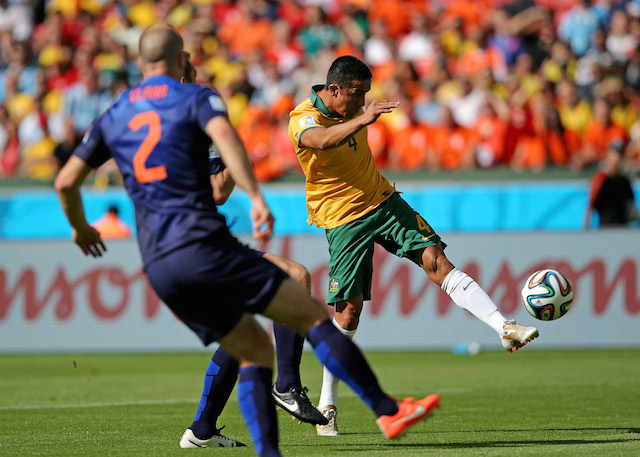 Tim Cahill's stunning one-touch volley edged out a diving header from Robin Van Persie. (Getty Images)