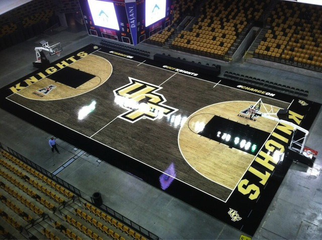 The new court design for UCF's men's and women's basketball arena took seven months. (UCF Athletics)