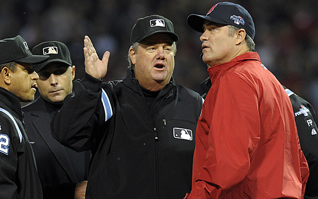 Managers can argue with umpires all they want. The replay officials will decide on challenged calls.