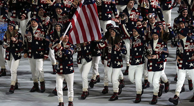 Todd Lodwick leads Team USA into the stadium. (Reuters)