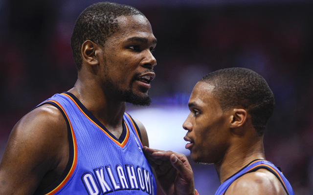 Westbrook and Durant went to the bench together in Game 1. (USATSI)