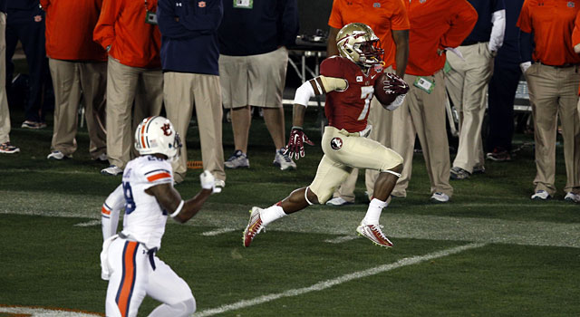 Levonte Whitfield returns a kickoff 100 yards to give Florida State its first lead of the game. (USATSI)