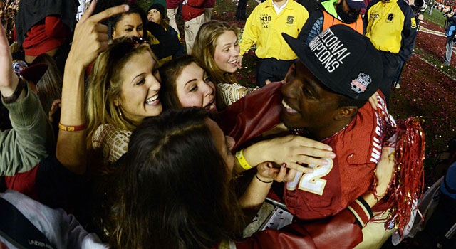 James Wilder celebrates with fans after Florida State finishes undefeated. (USATSI)