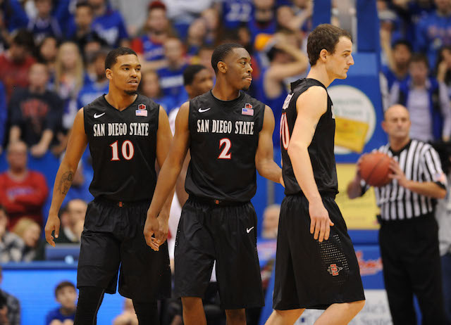 Xavier Thames (2) had 16 points to help lead San Diego State to a huge road win at Kansas. (USATSI)