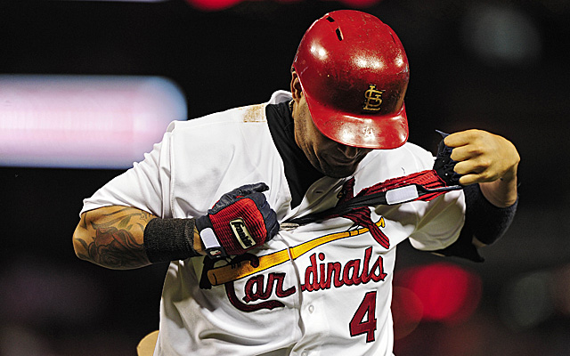 Yadier Molina was forced from Wednesday's game against the Pirates.