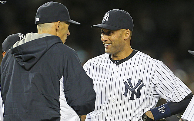 Joe Girardi, seemingly telling Derek Jeter what he's paid to do.
