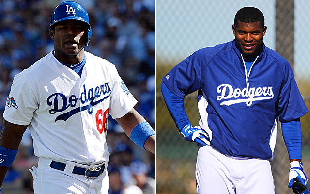 Yasiel Puig in late 2013 on the left, and 2014 on the right. Does he look heavier?