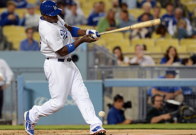 This foul ball helped send Yasiel Puig to the showers early Friday.