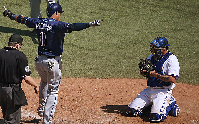 This move by Yunel Escobar made his manager upset Monday.