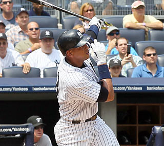 Alex Rodriguez connects on a 2-0 pitch in the first inning to collect his 600th career home run.