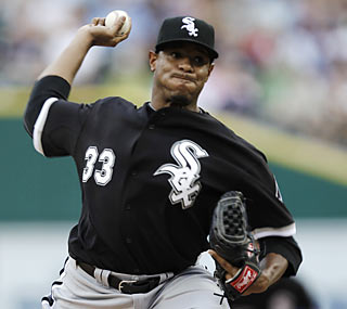 Not a shabby debut for new White Sox pitcher Edwin Jackson, who yields just one run through seven.  (AP)